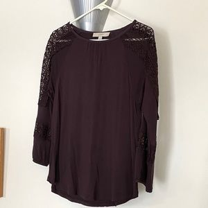 LOFT Blouse with Lace Inlay, MP, EUC!